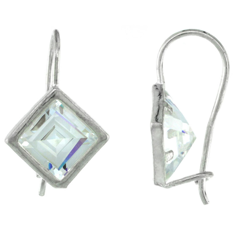 Sterling Silver 9mm Square CZ Hook Earrings 7/8 in. (23 mm) tall
