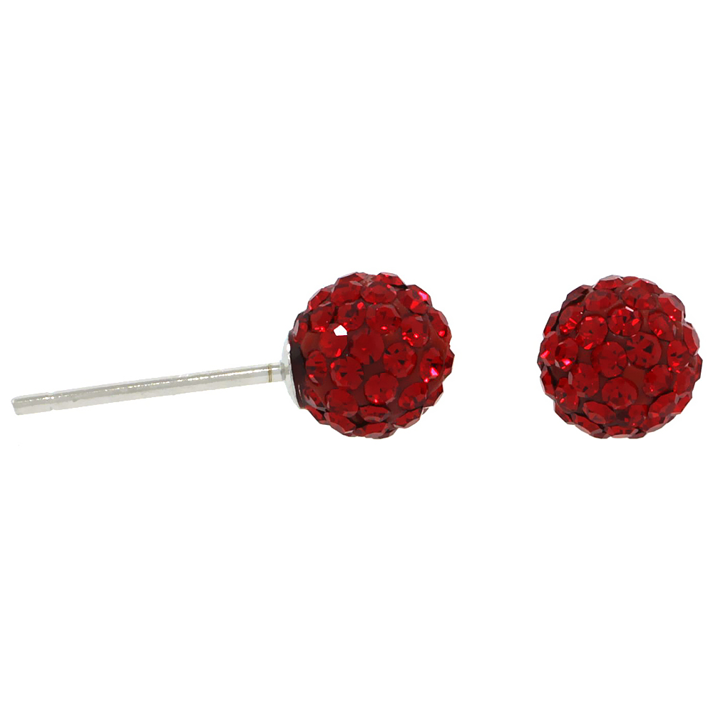 Sterling Silver 6mm Round Red Disco Crystal Ball Stud Earrings