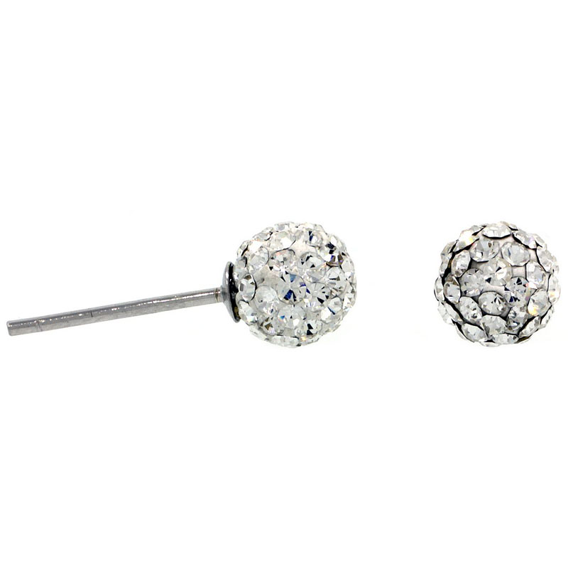 Sterling Silver 6mm Round White Disco Crystal Ball Stud Earrings