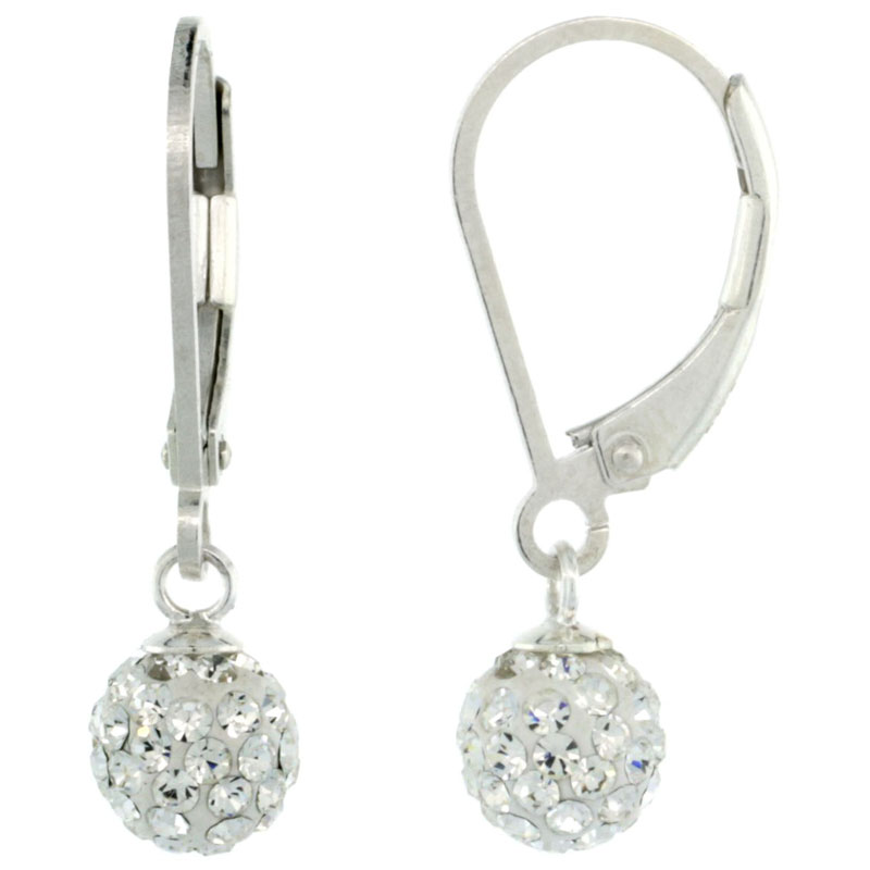 Sterling Silver 6mm Round White Disco Crystal Ball Lever Back Earrings, 1 in. (25 mm) tall