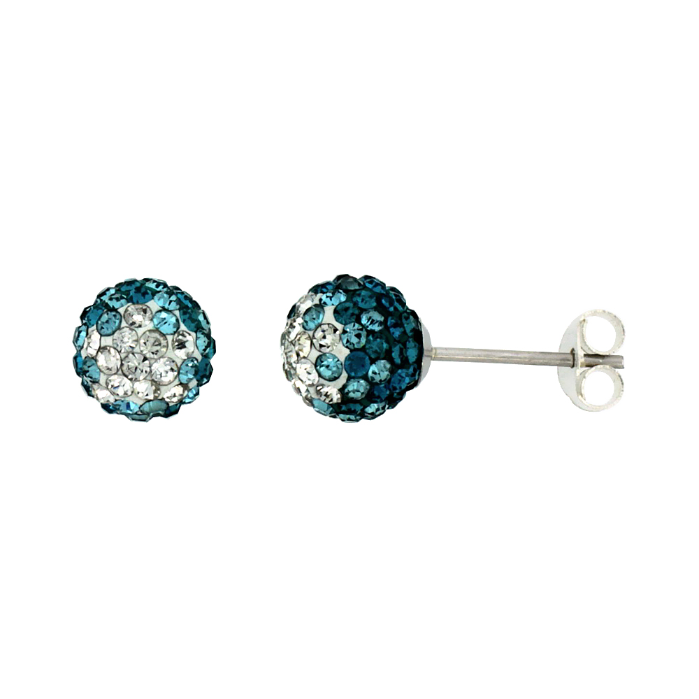 Sterling Silver Crystal Disco Ball Stud Earrings Clear & Blue-Green Color 6mm Round
