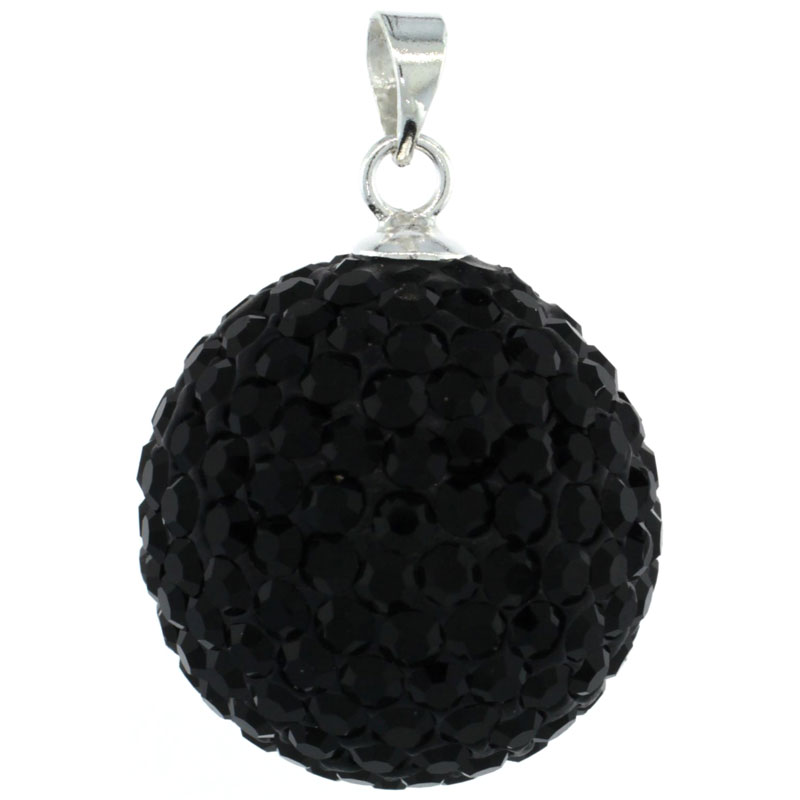 Sterling Silver Black Crystal Disco Ball Pendant 18mm
