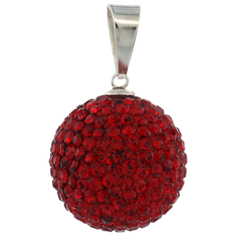 Sterling Silver Red Crystal Disco Ball Pendant 18mm