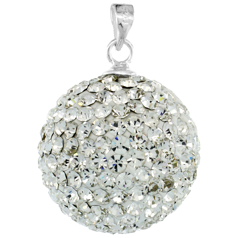 Sterling Silver White Crystal Disco Ball Pendant 18mm