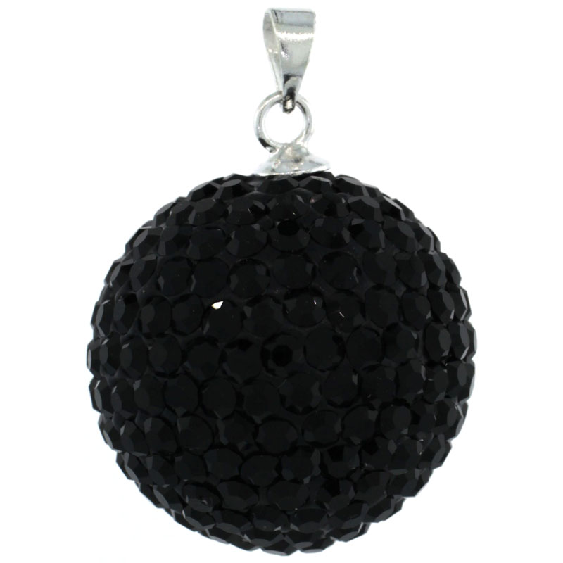 Sterling Silver Black Crystal Disco Ball Pendant 20mm