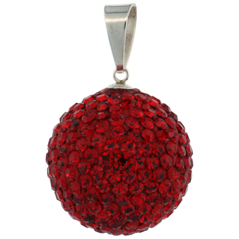 Sterling Silver Red Crystal Disco Ball Pendant 20mm