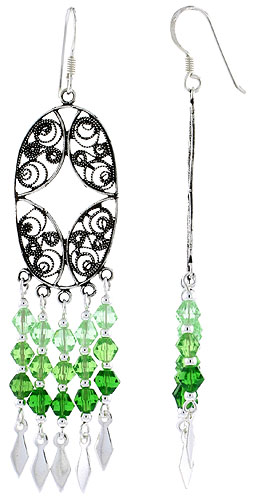 "Sterling Silver Oval-shaped Dangle Chandelier Earrings w/ Peridot-colored Green Crystals, 2 5/8"" (67 mm) tall"