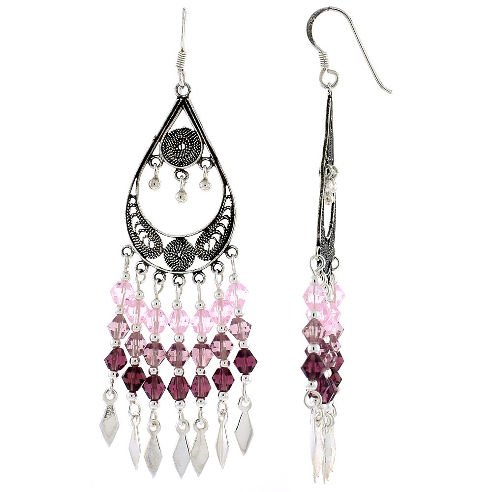 """Sterling Silver Pear-shaped Dangle Chandelier Earrings w/ Pink Tourmaline, Rose Pink & Garnet-colored Crystals, 2 9/16"""" (65 mm) tall"""