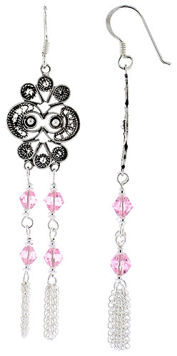 "Sterling Silver Fish Hook Dangle Earrings w/ Pink Tourmaline-colored Crystals, 2 1/4"" (57 mm) tall"