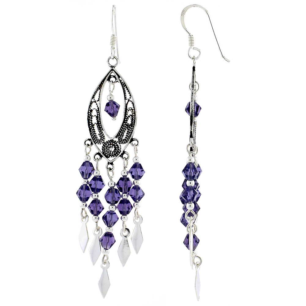 "Sterling Silver Marquise-shaped Dangle Chandelier Earrings w/ Purple Amethyst-colored Crystals, 2 3/8"" (60 mm) tall"