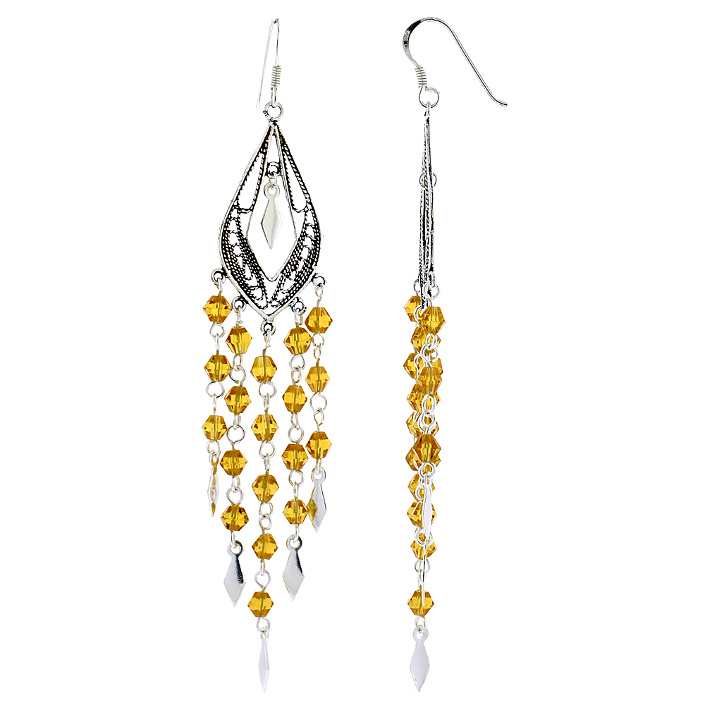 "Sterling Silver Pear-shaped Dangle Chandelier Earrings w/ Yellow Citrine-colored Crystals, 3 3/8"" (86 mm) tall"