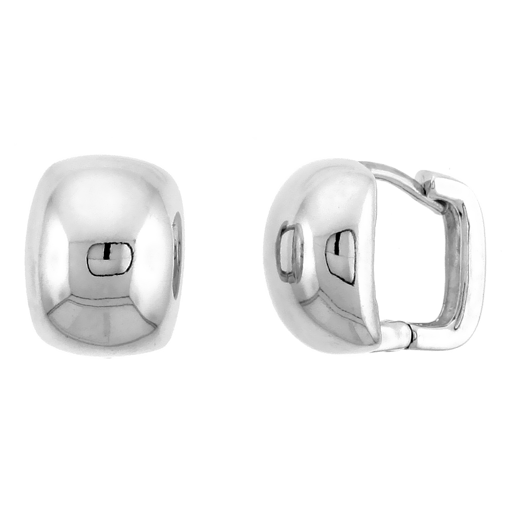 "Sterling Silver Huggie Earrings, 1/2"" (13 mm)"