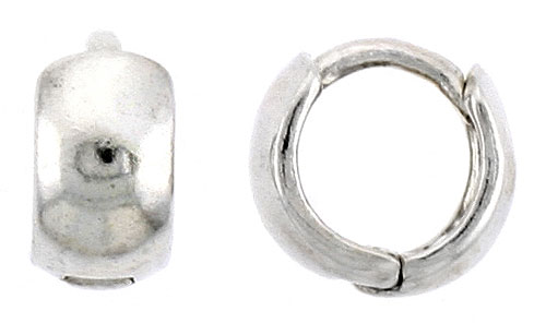 "Sterling Silver Plain Huggie Hoop Earrings, 3/8"" (9 mm)"