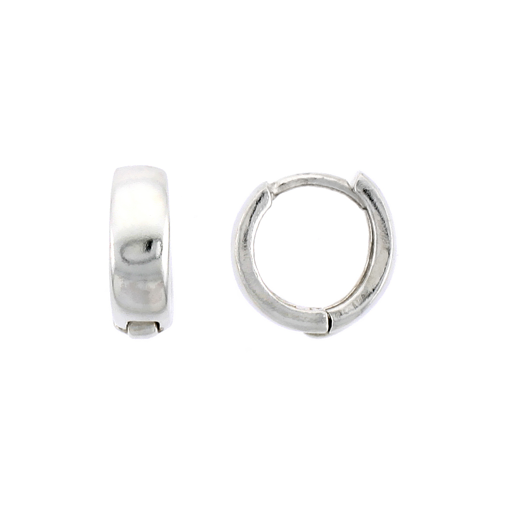 """Sterling Silver Plain Huggie Hoop Earrings, 3/8"""" (10 mm)"""