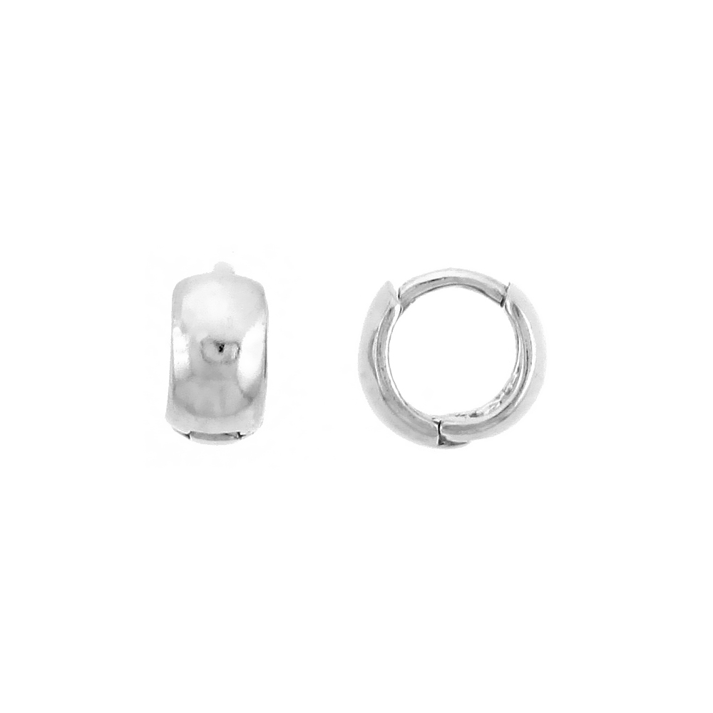 "Sterling Silver Plain Huggie Hoop Earrings, 5/16"" (8 mm)"