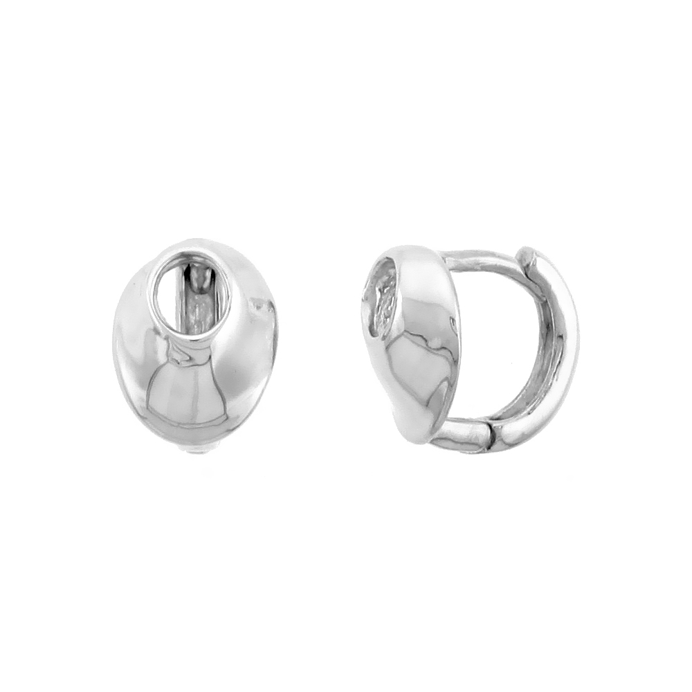 "Sterling Silver Fancy Huggie Earrings w/ Oval Cut Out, 3/8"" (10 mm)"
