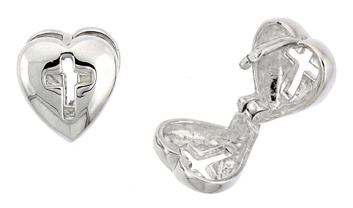 "Sterling Silver Heart-shaped Huggie Earrings w/ Cross Cut Out, 3/8"" (10 mm)"