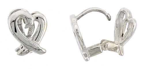 "Sterling Silver Love Knot Huggie Earrings, 3/8"" (10 mm)"