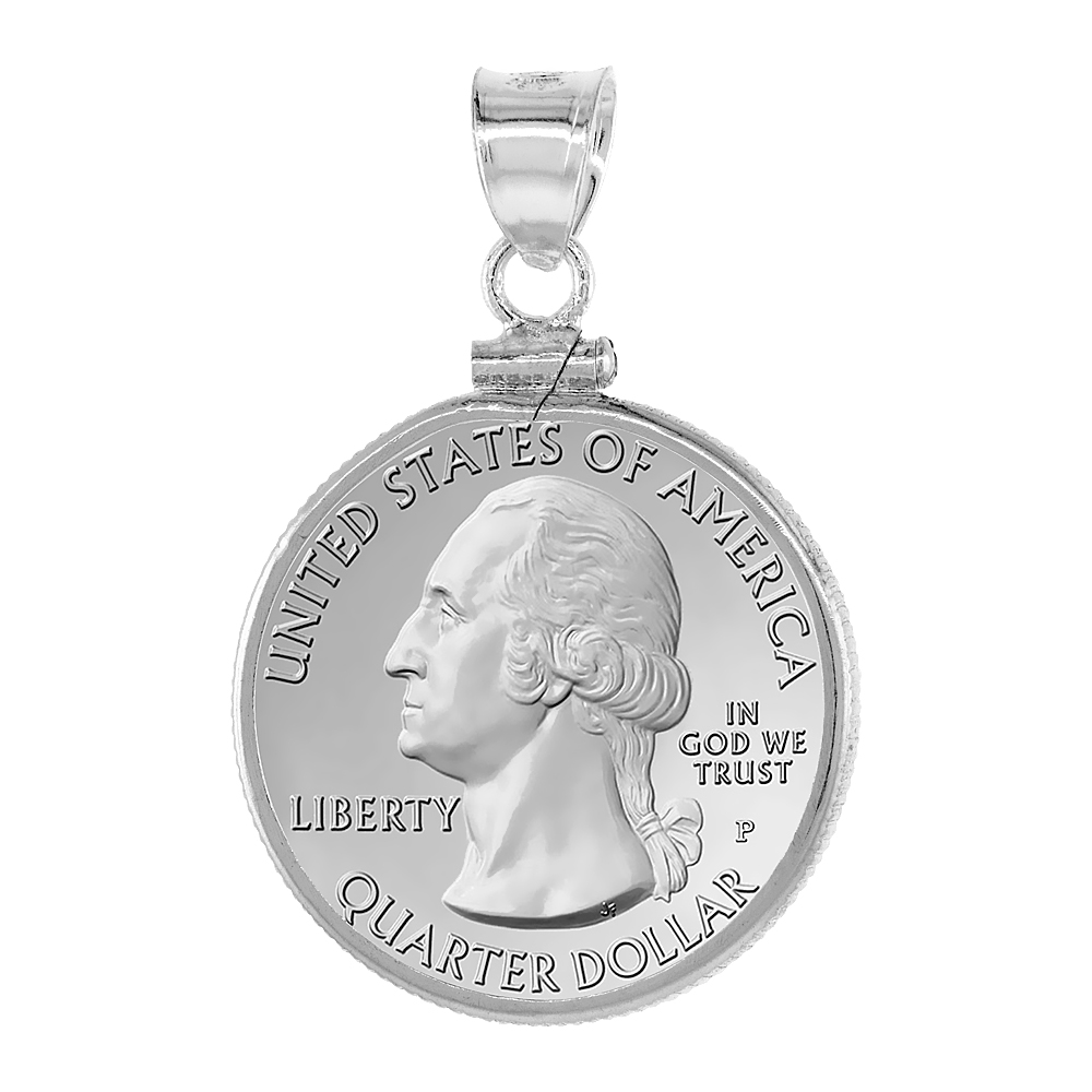 Sterling Silver 24 mm Quarter Dollar (25 Cents) Screw Top Coin Bezel Frame Pendant (Coin is NOT Included)