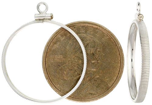 Sterling Silver Sacagawea & Susan B. Anthony Bezel Screw Top 26 mm Coin Edge One Dollar Coin NOT Included