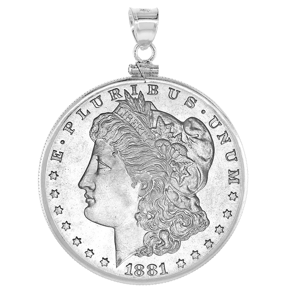 Sterling Silver 38 mm Silver Dollar & Mexican Olympic Screw Top Coin Bezel Frame Pendant (Coin is NOT Included)