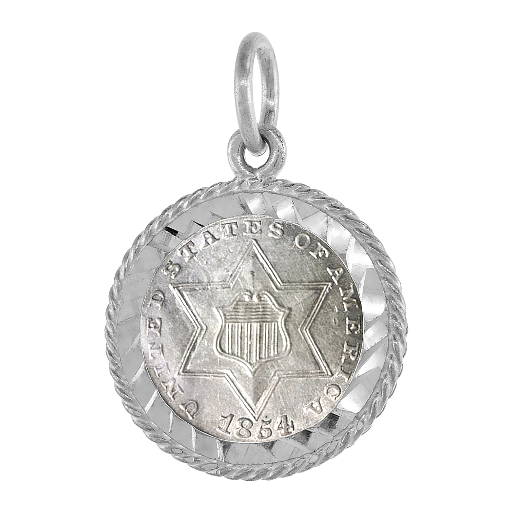 Sterling Silver 14 mm Coin Frame Bezel Pendant w/ Rope Edge Design for 1/20oz gold piece (Coin is NOT Included)