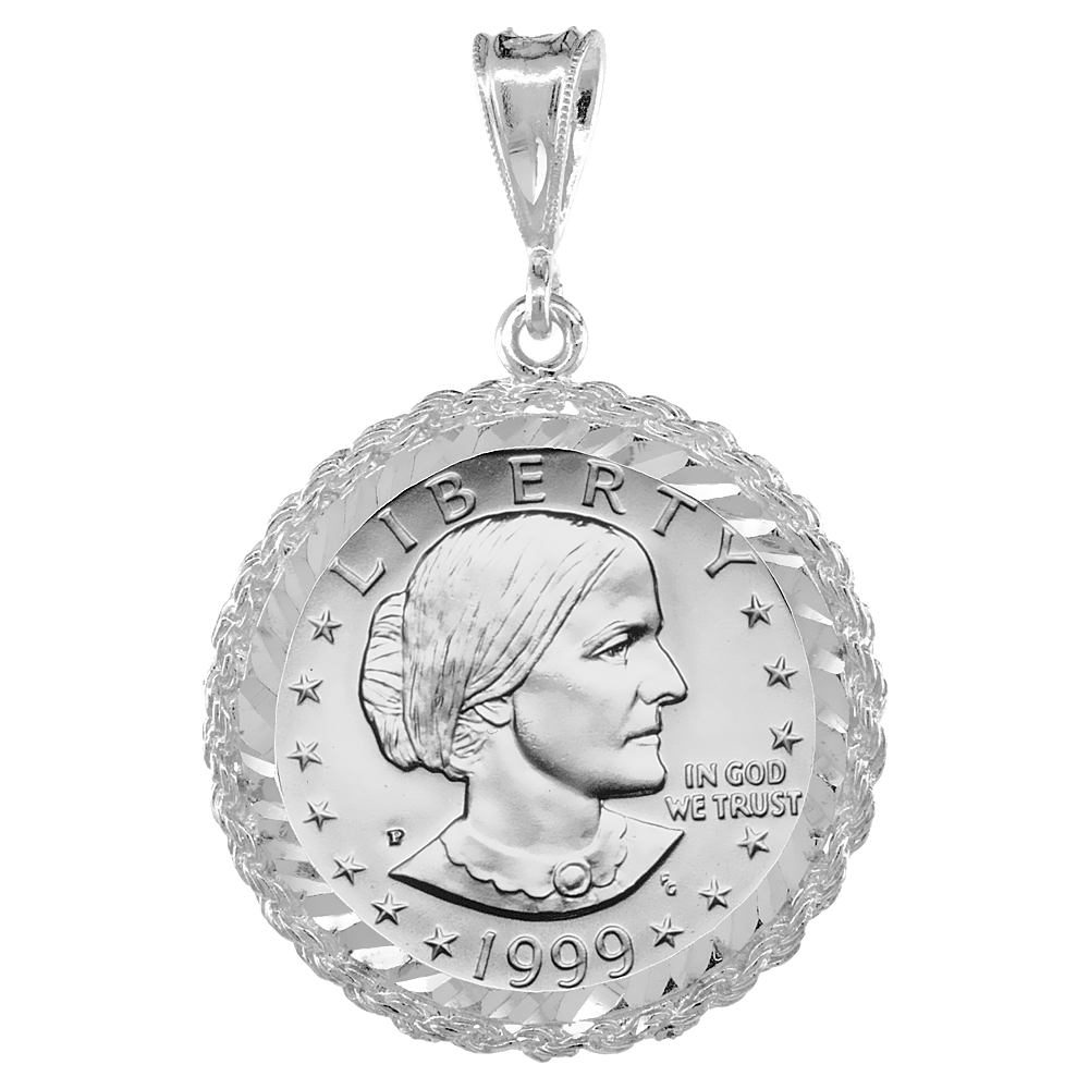 Sterling Silver 26 mm Sacagawea & Susan B. Anthony Dollar Coin Frame Bezel Pendant w/ Rope Edge Design (Coin is NOT Included)