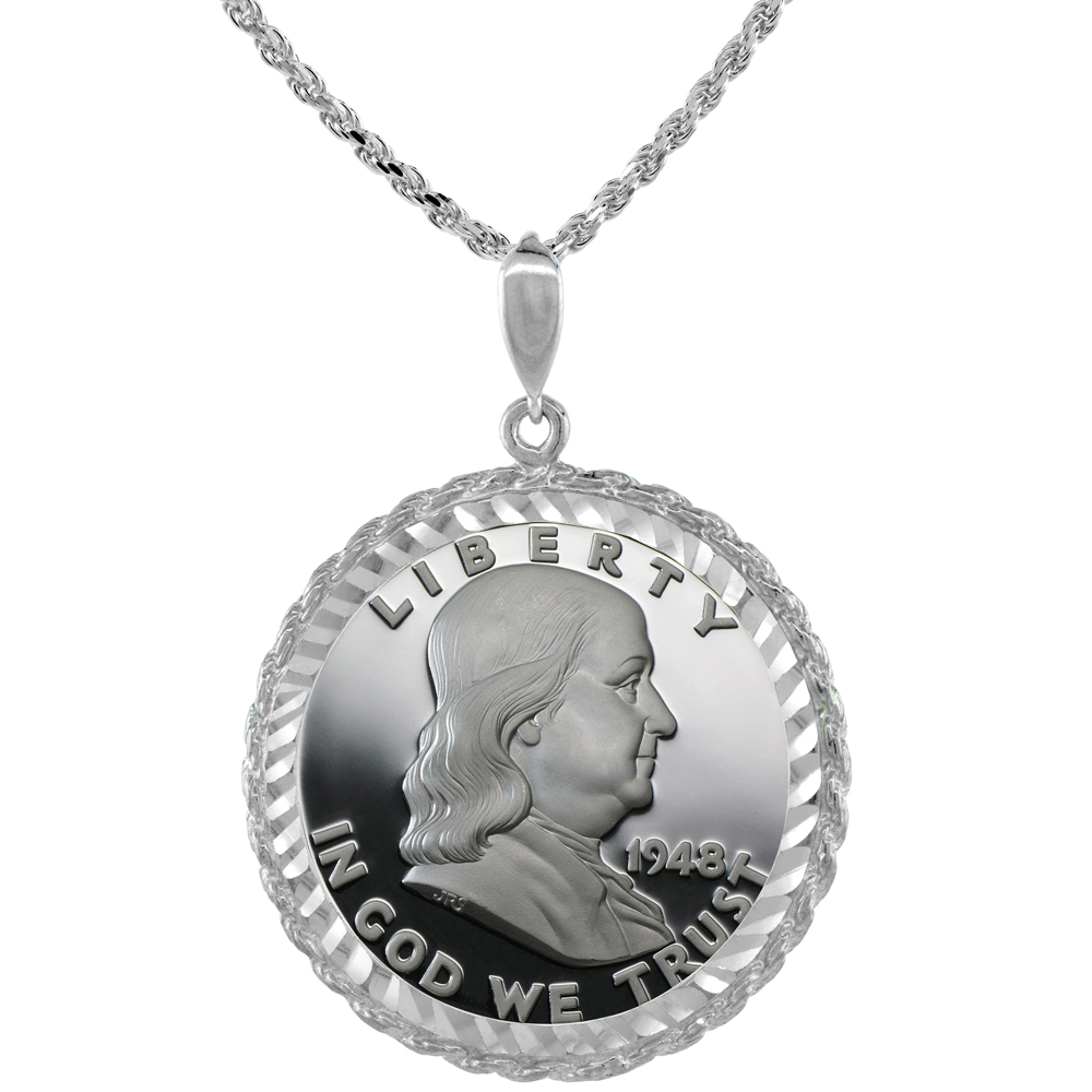 Sterling Silver 30 mm Half Dollar (50 Cents) Coin Frame Bezel Pendant w/ Rope Edge Design (Coin is NOT Included)