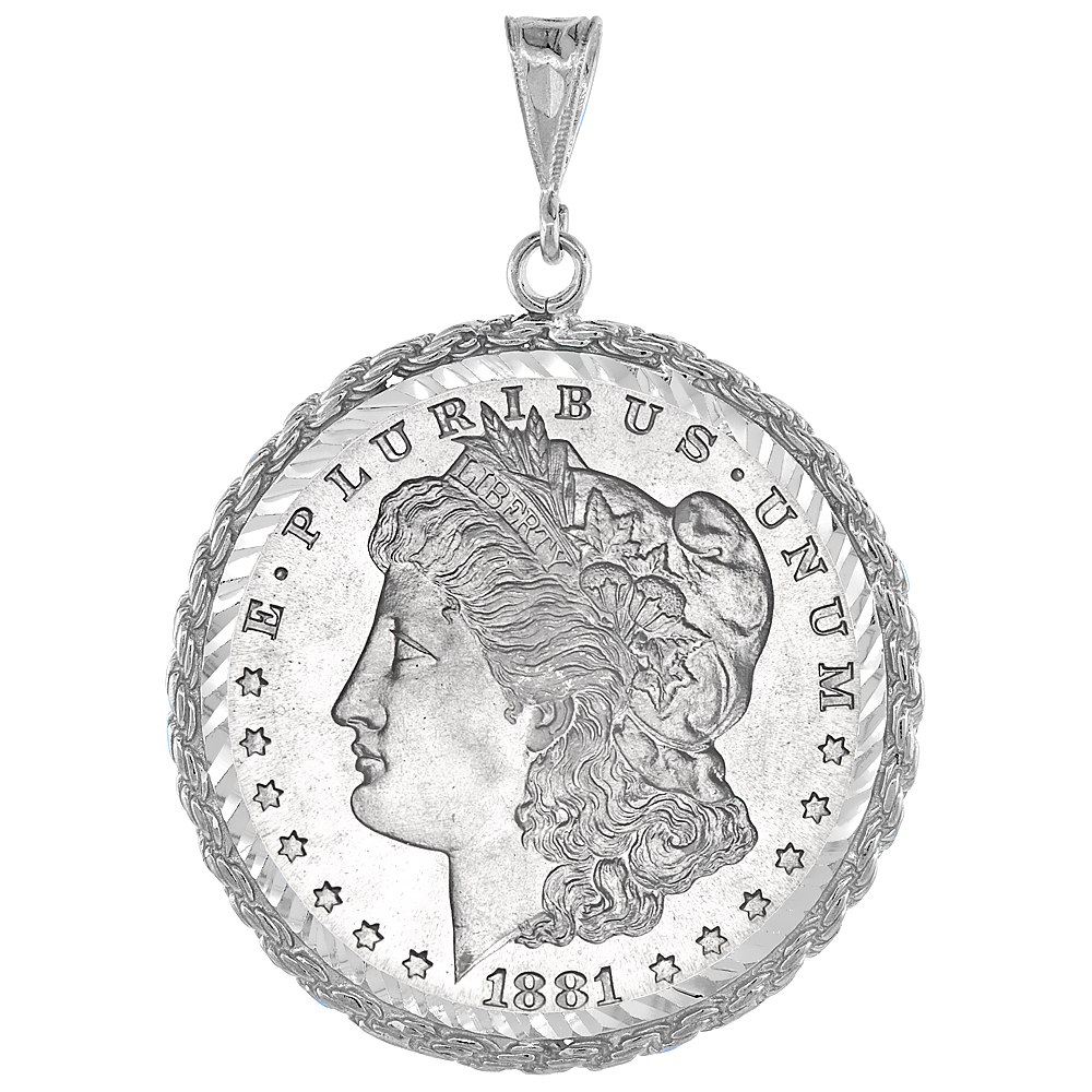 Sterling Silver Dollar Bezel 38 mm Prong Back Rope Edge Diamond Cut Mexican Olympic One Dollar Coin NOT Included