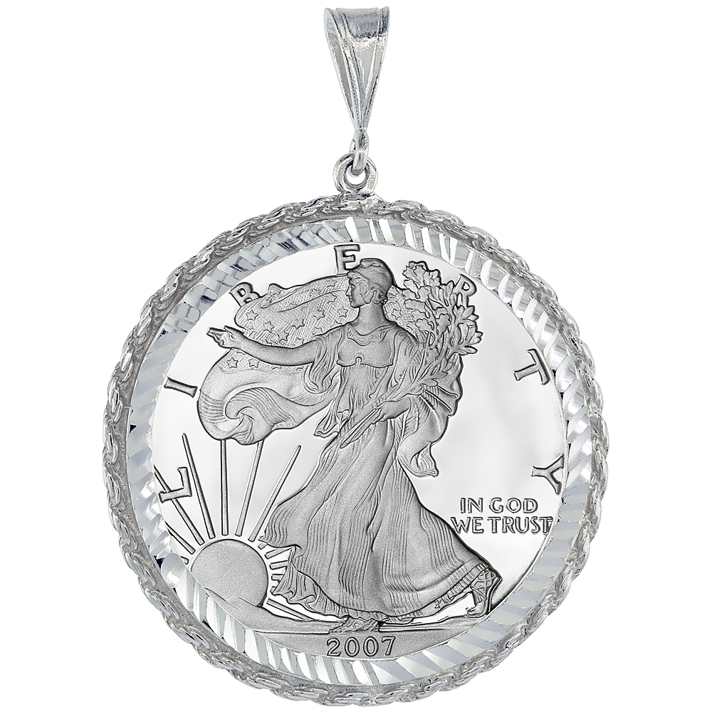 Sterling Silver 41 mm Silver Eagle 1 oz Dollar Coin Frame Bezel Pendant w/ Rope Edge Design (Coin is NOT Included)