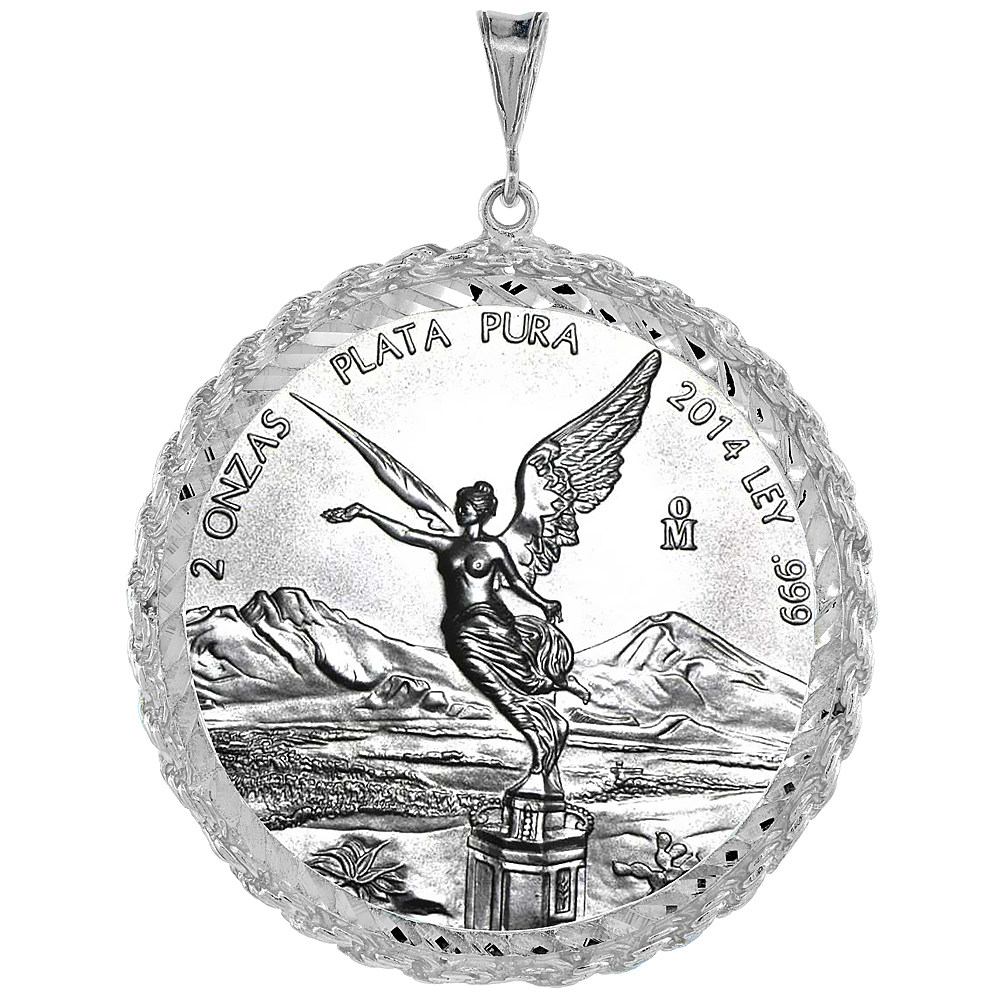 Sterling Silver 47 mm Coin Frame Bezel Pendant w/ Rope Edge Design (Coin is NOT Included)