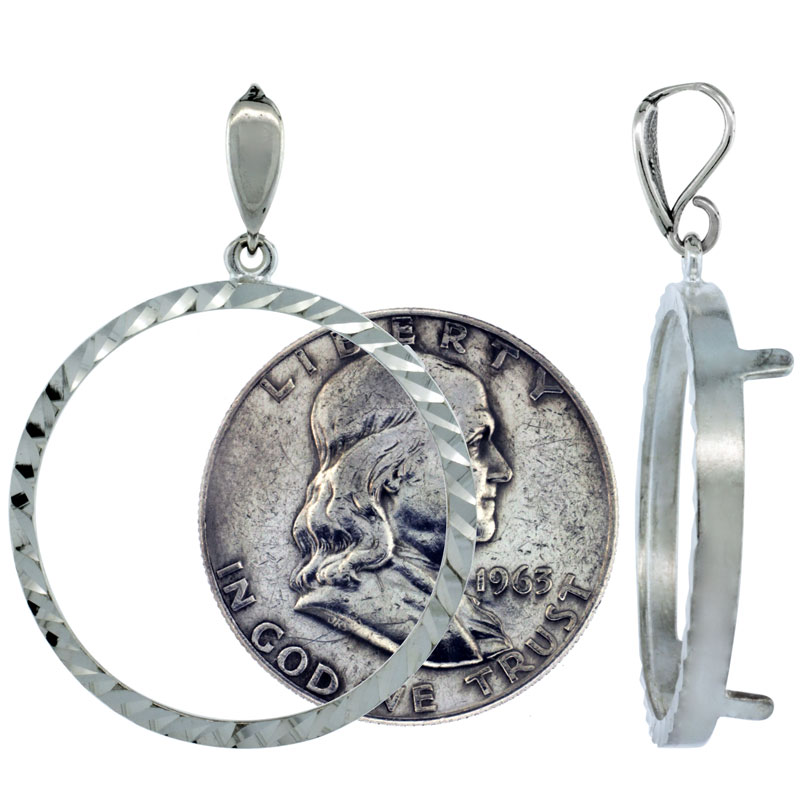 Sterling Silver 30 mm Half Dollar (50 Cents) Coin Frame Bezel Pendant w/ Diamond Cut Finish (COIN is NOT Included)
