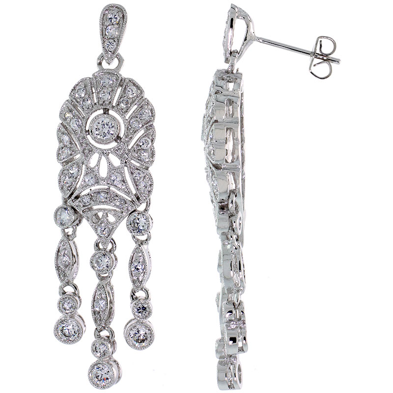 Sterling Silver CZ Chandelier Drop Earrings 1 15/16 in. (50 mm) tall