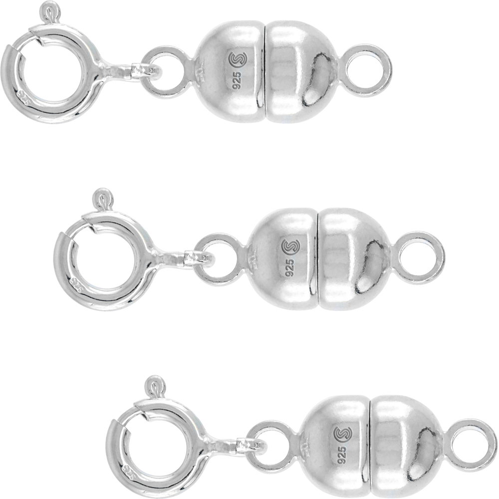 3 PACK Sterling Silver 7 mm Magnetic Clasp Converter for Necklaces Italy, Large size