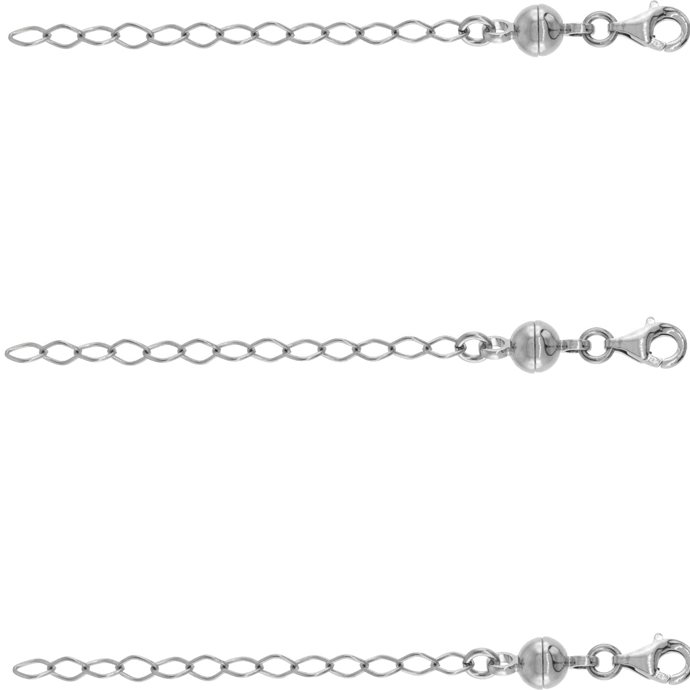 3 PACK Sterling Silver 6 mm Magnetic Ball Clasp Converter Rhodium Finish 2 inch Extention, small size