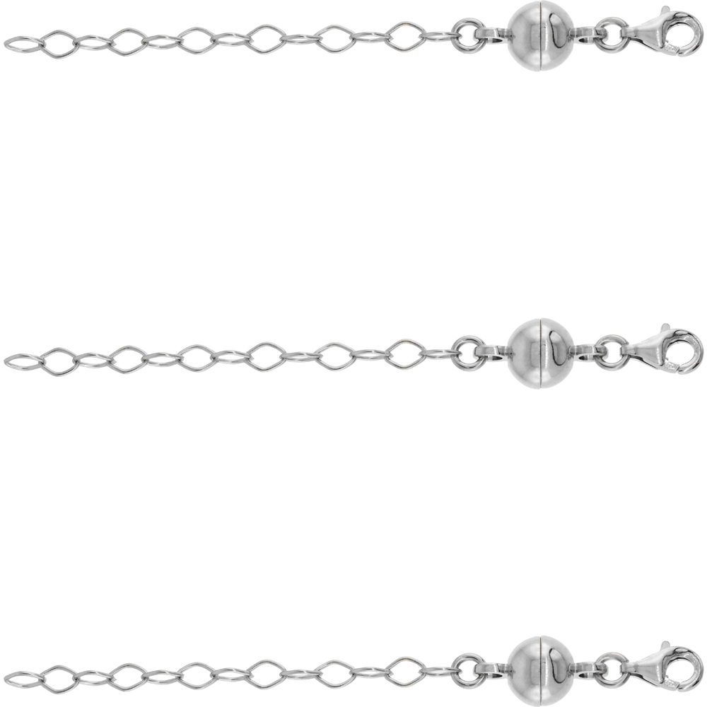 3 PACK Sterling Silver 8 mm Magnetic Ball Clasp Converter Rhodium Finish 2 inch Extention, Medium size