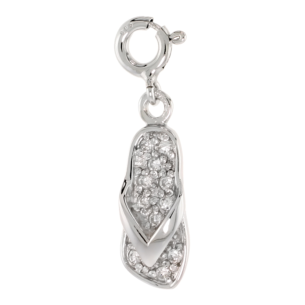 Sterling Silver Cubic Zirconia Jeweled Flip Flop Charm with clasp for Bracelets Women 13/16 inch