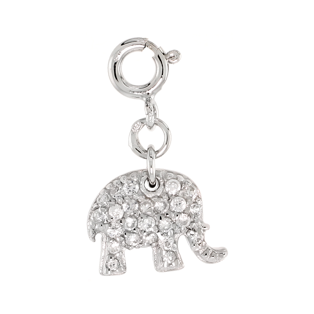 Sterling Silver Cubic Zirconia Jeweled Elephant Charm with clasp for Bracelets Women 3/8 inch