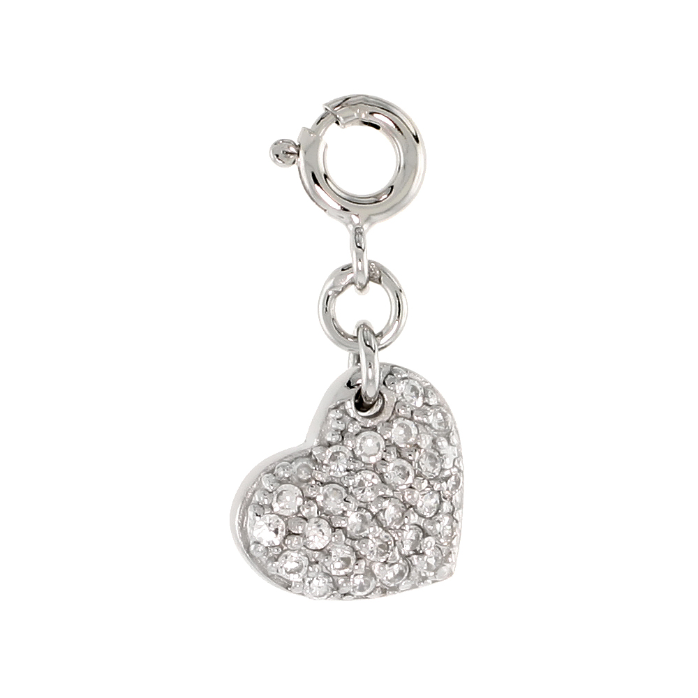 Sterling Silver Cubic Zirconia Jeweled Heart Charm with clasp for Bracelets Women 1/2 inch
