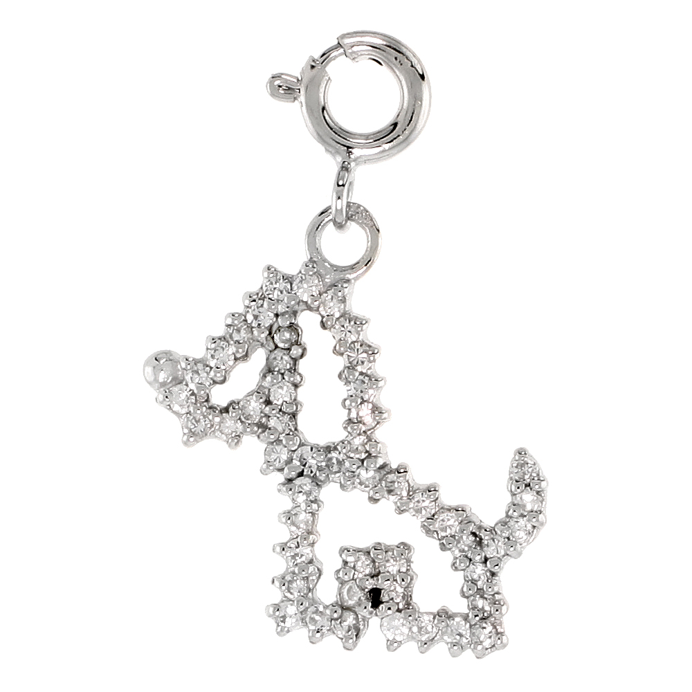 Sterling Silver Cubic Zirconia Jeweled Puppy Charm with clasp for Bracelets Women 13/16 inch