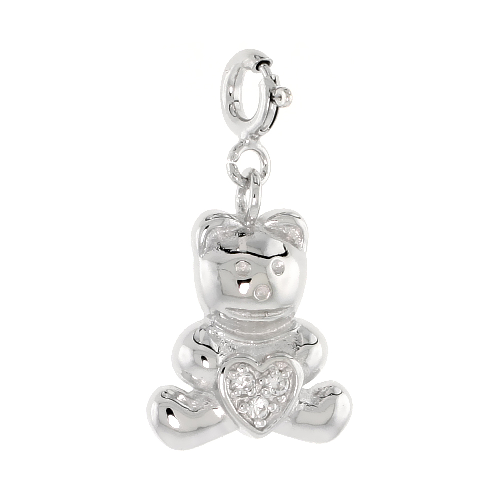 Sterling Silver Cubic Zirconia Jeweled Teddy Bear Charm with clasp for Bracelets Women 11/16 inch