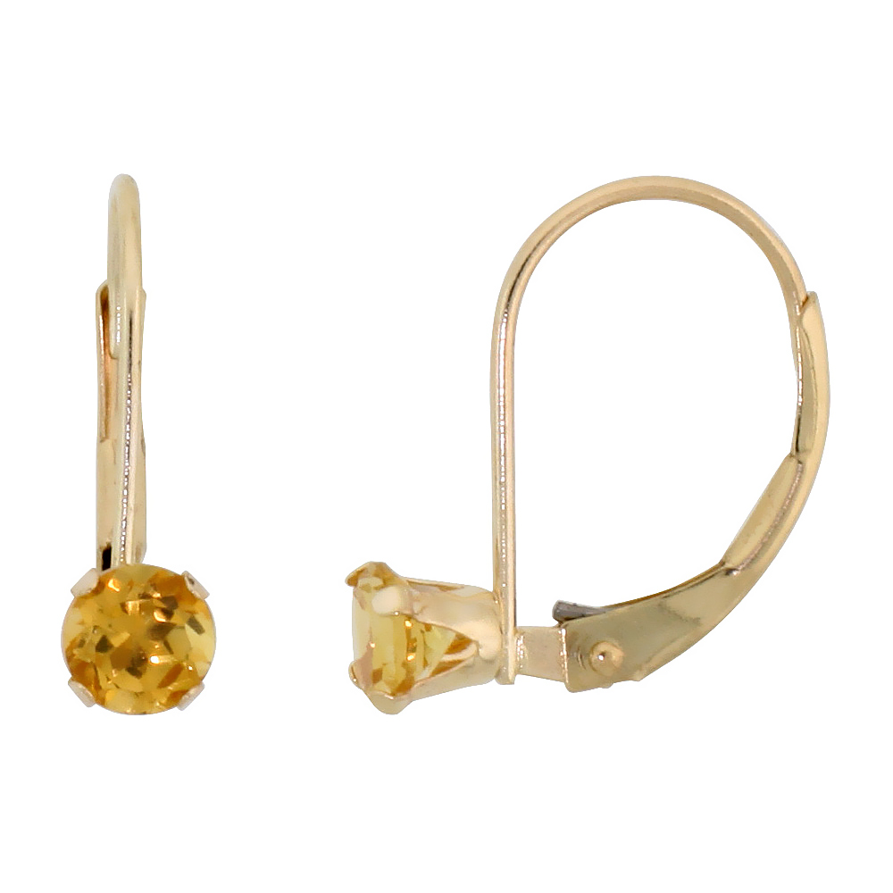 10k Yellow Gold Natural Citrine Leverback Earrings 1/2 ct Brilliant Cut November Birthstone, 9/16 inch long