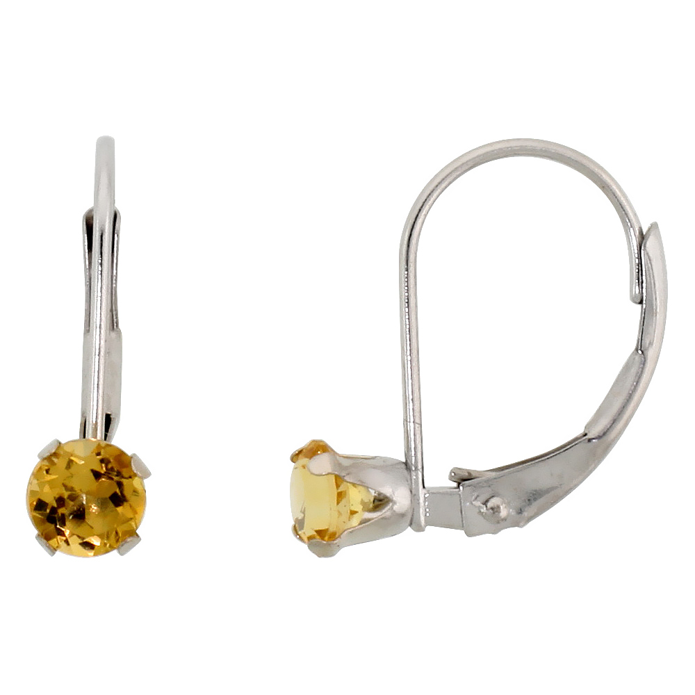10k White Gold Natural Citrine Leverback Earrings 1/2 ct Brilliant Cut November Birthstone, 9/16 inch long