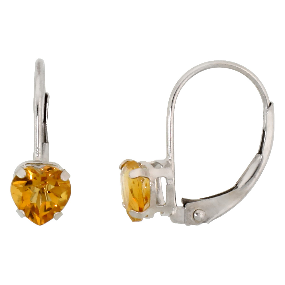 10k White Gold Natural Citrine Heart Leverback Earrings 5mm November Birthstone, 9/16 inch long