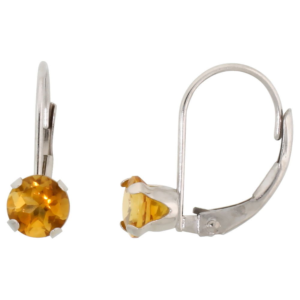 10k White Gold Natural Citrine Leverback Earrings 5mm Brilliant Cut November Birthstone, 9/16 inch long