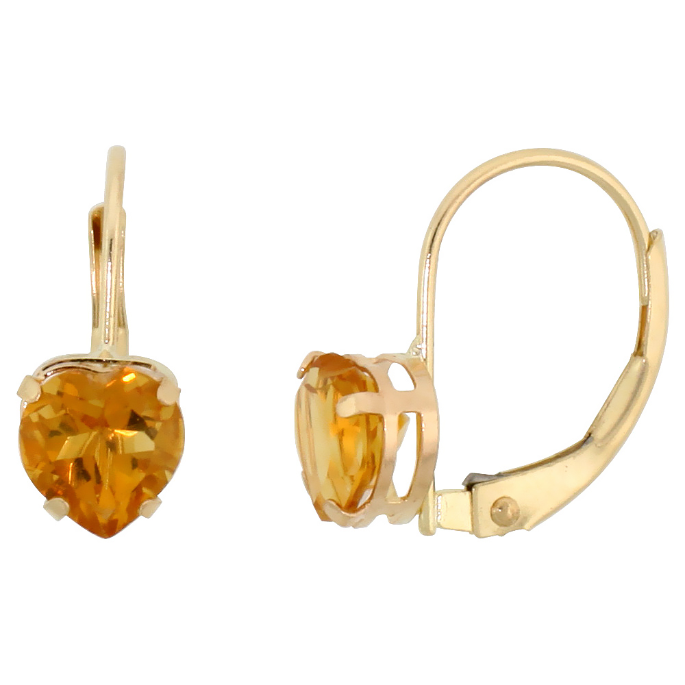 10k Yellow Gold Natural Citrine Heart Leverback Earrings 6mm November Birthstone, 9/16 inch long