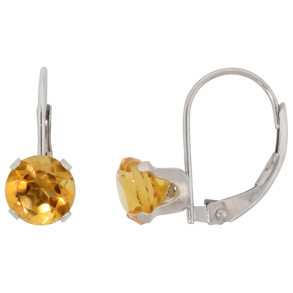 10k White Gold Natural Citrine Leverback Earrings 6mm Brilliant Cut November Birthstone, 9/16 inch long