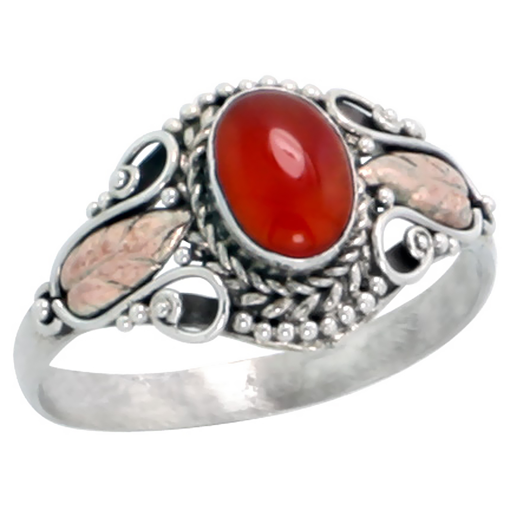 Sterling Silver Bali Style Ring, 7 x 5 mm Oval Cabochon Natural Carnelian Stone & Real 18k Gold Leaf Accent, 7/16 inch