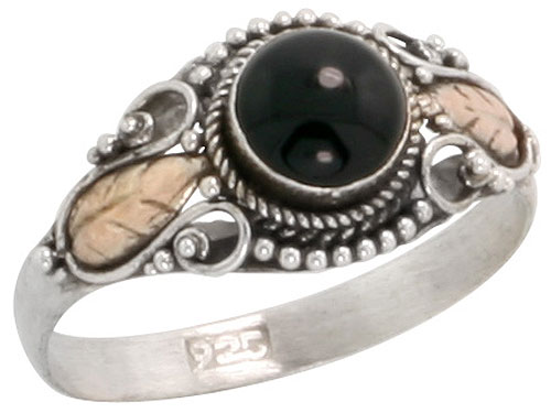 Sterling Silver Bali Style Ring, 6mm Round Cabochon Black Onyx & Real 18k Gold Leaf Accent, 3/8 inch