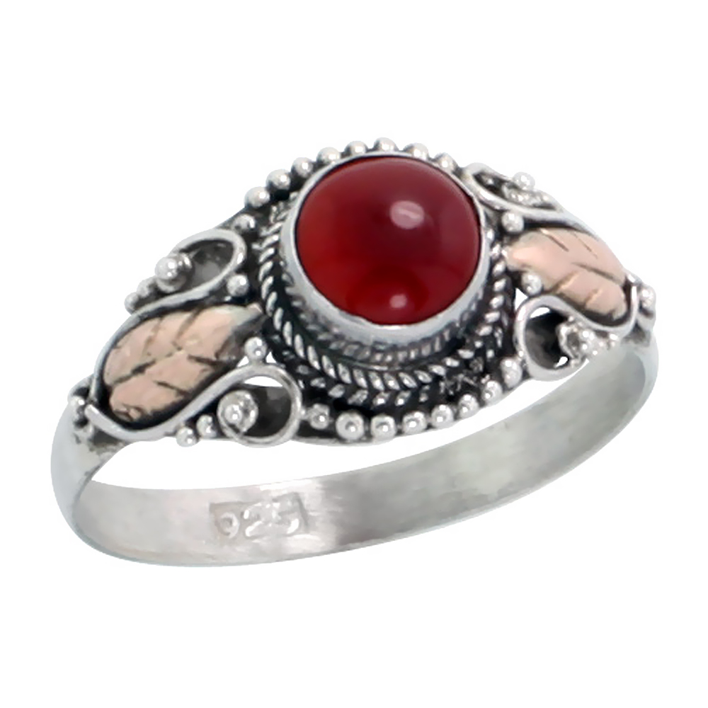 Sterling Silver Bali Style Ring, 6mm Round Cabochon Natural Carnelian Stone & Real 18k Gold Leaf Accent, 3/8 inch